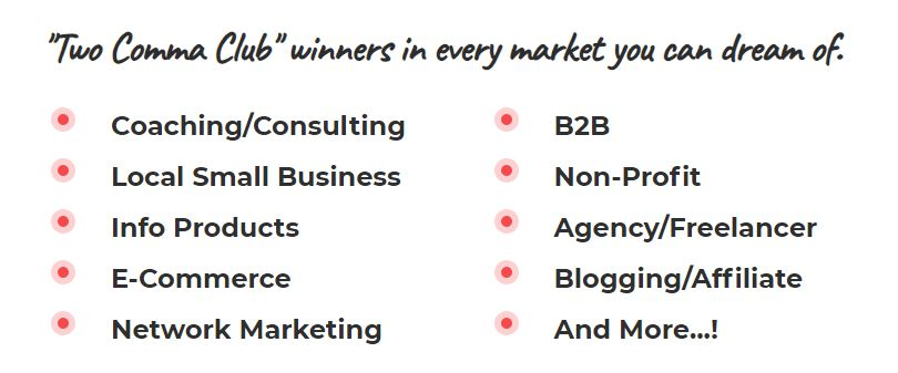 Relating to Various Markets For ClickFunnels