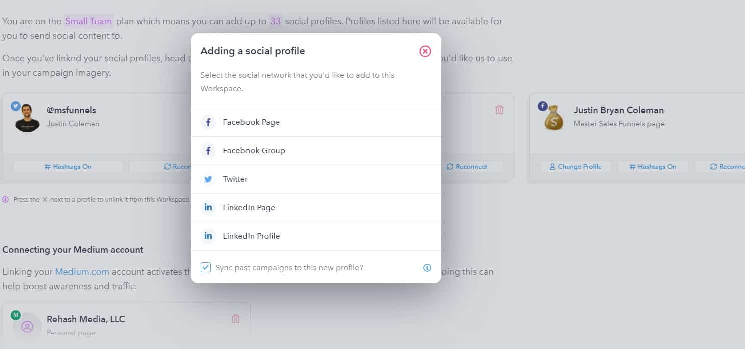 Social Profiles you can Sync to Missinglettr
